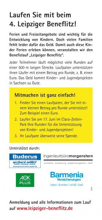 Flyer - 4. Leipziger Beneflitz 2017 Rückseite