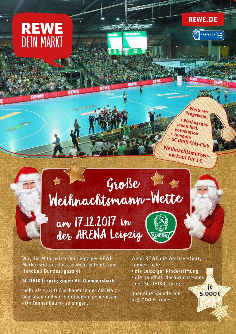 Weihnachtsmannwette Rewe SC DHfK Handball - Leipziger Kinderstiftung