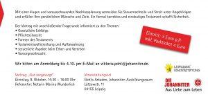 """Flyer-Rückseite für """"Forum Zukunft schenken"""" - Leipziger Kinderstiftung"""
