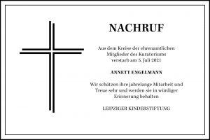 Nachruf - Annett Engelmann - Leipziger Kinderstiftung